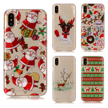 ottwn Red Merry Christmas Case For iphone XS Max XR X 8 7 6 6S Plus Santa Claus Tree Sock Soft Phone Back Cases Cover Shells
