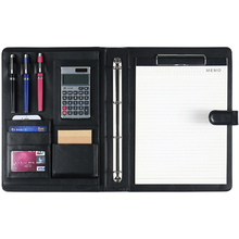 A4 A5 File Organizer Portfolio Folder Document Bags PU Leather Notepad Multi-function Card Holder Pen File Clip Calculator Memo  - buy with discount
