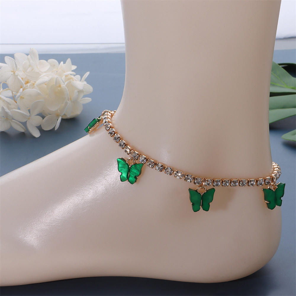Colorful Butterfly Pendant Anklet For Women Crystal Chain Anklet Vacation Dating Accessories Barefoot Chain