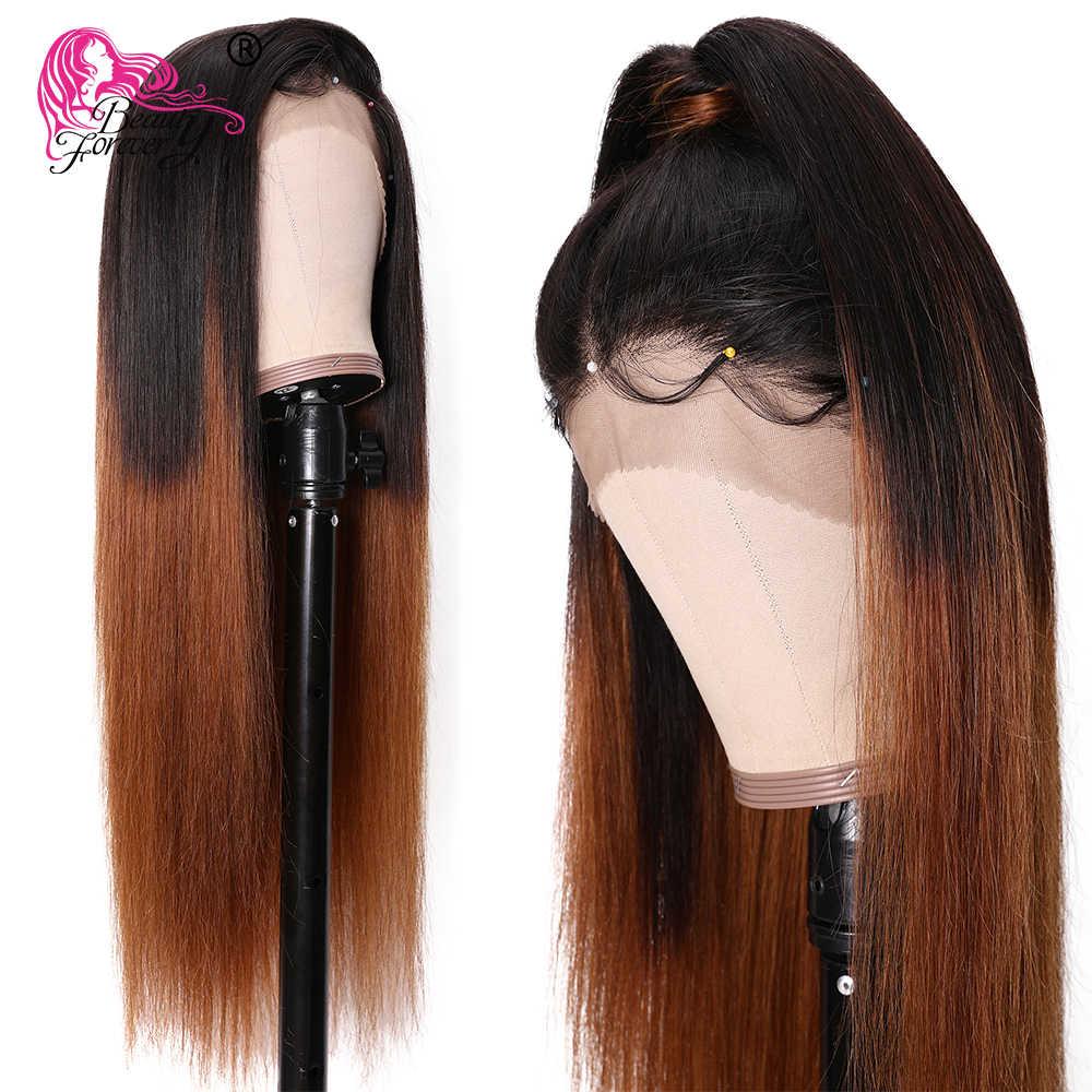 Beauty Forever koronkowa peruka 13x6 proste włosy ludzkie koronkowe peruki T1B/4 Ombre brazylijski Remy włosy koronkowa peruka na przód 150% gęstość 12-24 cal