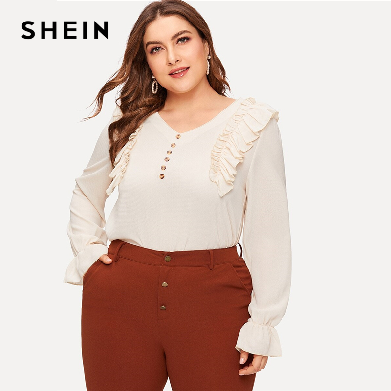SHEIN Plus Size Beige Ruffle Button Decoration Blouse Top Women Spring Autumn V Neck Flounce Long Sleeve Casual Solid Blouses