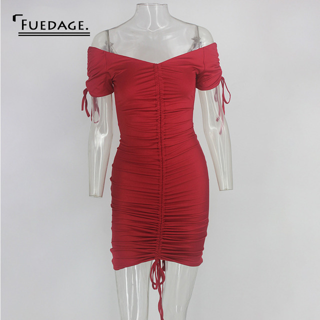 Fuedage Red Solid Ruched Drawstring Mini Dress Women Off Shoulder Sexy Backless Club Party Dress Bodycon Suchmmer Dress Vestidos 4