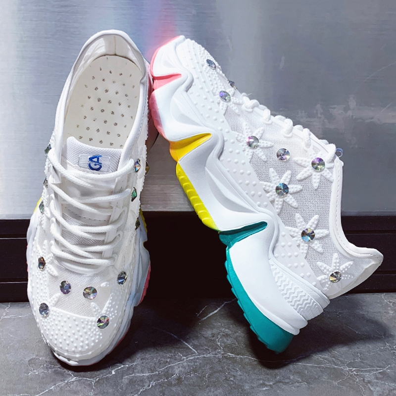 White Women Chunky Sneakers Fashion Rhinestone Flower Dad Shoes Thick Multi Color Sole Ladies Platform Shoes Summer Women Shoes