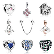 2019 New Original Alloy Bead Family Mother Dad Love Heart Pendant Charm Fit Pandora Bracelet Bangle Necklace DIY Women Jewelry(China)