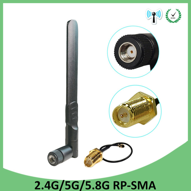 2.4GHz 5GHz 5.8Ghz Antenna 8dBi RP-SMA Connector Dual Band 2.4G 5G 5.8G wifi Antena aerial SMA female + 21cm Pigtal cable