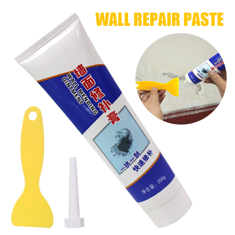 250g Wall Repairing Ointment Universal Mending Paste Repair Cream Grout Beautiful Sealant For Cracked Peeled Holes Wall+Scraper
