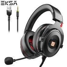 EKSA auriculares E900 Pro Virtual 7,1 con cable para videojuegos cascos por encima de la oreja con micrófono aislado de ruido para PS4/PC/ Xbox/teléfono