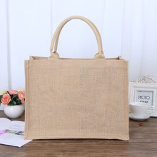 100pcs /lot Wholesale Eco-friendly Customized Printed Carry Cheap Shopping Foldable Rope Handle Jute Tote Bag Can Printing Logo