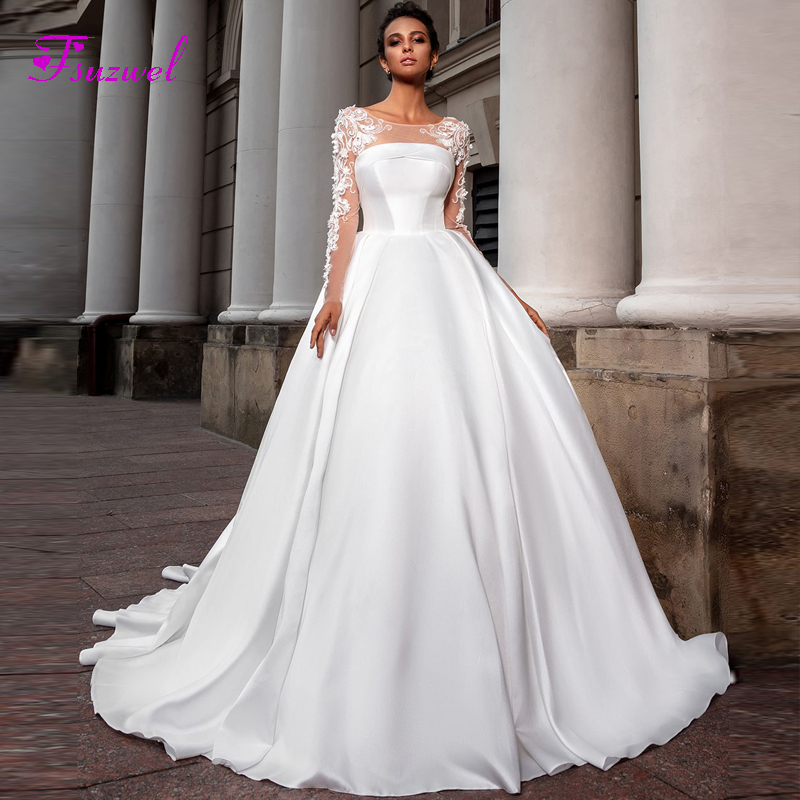 Fsuzwel Romantic Scoop Neck Long Sleeve A Line Wedding Dress 2020 Luxury Beaded Appliques Satin Court Train Vintage Bridal GownWedding Dresses   -