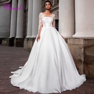 Image 1 - Fsuzwel ロマンチックなスクープネックロングスリーブ a ラインのウェディングドレス 2020 高級ビーズアップリケサテン裁判所の列車ヴィンテージブライダルドレス