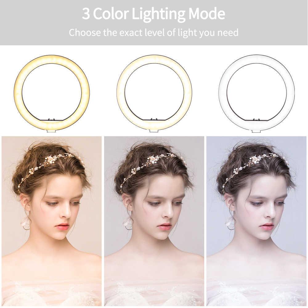 10 cal/26cm lampa pierścieniowa LED fotografia z 2 w 1 statyw Selfie światło LED do kamery na YouTube wideo do makijażu wtyczka USB