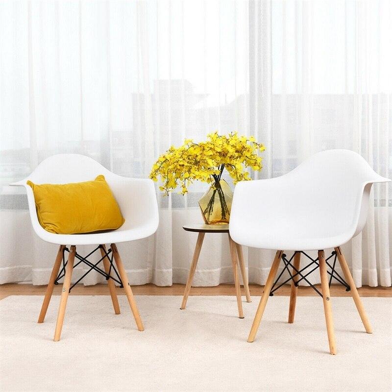 Lot de 2 fauteuils de salle à manger du milieu du siècle avec pieds en bois chaises salle à manger moderne HW58942-2