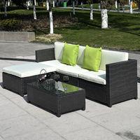 Costway pátio ao ar livre 5pc mobiliário secional pe vime vime sofá conjunto deck sofá preto (preto) -