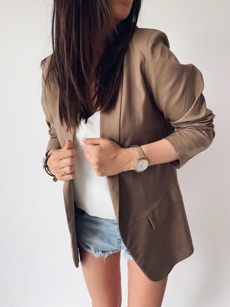 2020 New Fashion Women's Suit Coat Autumn Women's Solid Button Long Sleeve Double Pocket Business Office Women's Suit Coat