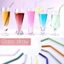 1 шт Ручная работа стеклянная солома прямой изгиб питьевой соломинки многократного использования экологически чистые бытовые изогнутые стеклянные соломинки для сока чая