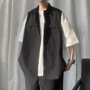 2020 męska krótki rękaw koszula hawajska styl wojskowy płaszcz modne luźne koszula francuski mankiet modne koszule Camisa Masculina tanie i dobre opinie Uyuk COTTON Poliester Skręcić w dół kołnierz Pojedyncze piersi REGULAR 601-1-S616-p28 Suknem Hip Hop Stałe