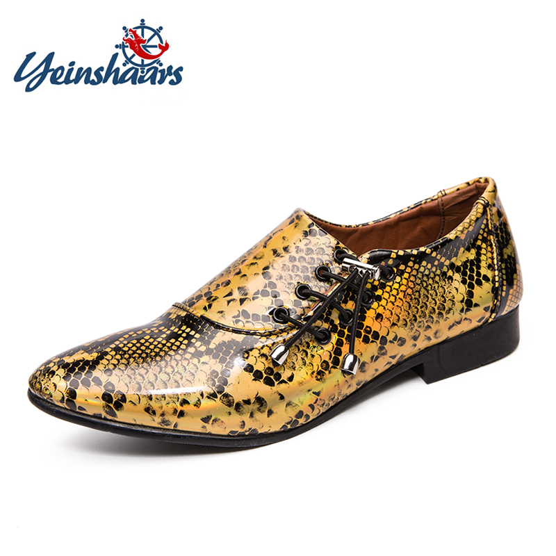 YEINSHAARS New Imitate Snake Leather Men Oxford Shoes Lace Up Casual Business Men Pointed Shoes Men Wedding Men Dress Boat Shoes image