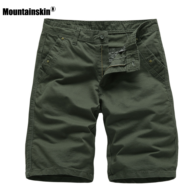 Mountainskin 2020 New Men's Cargo Shorts Summer Men Casual Cotton Short Pants Sport Solid Color Knee Length Shorts Male SA892