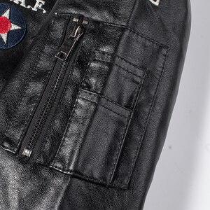 Image 4 - Männer Herbst Neue Casual Motorrad Vintage Leder Jacken Mantel Männer Mode Biker UNS Armee Bomber Stickerei PU Leder Jacke Männer