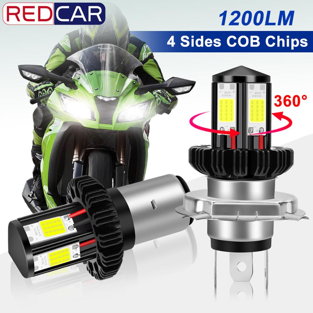 H4 BA20D Motorecycle Headlight Led Bulb 4 Sides COB Chips 1200Lm Super Bright 6000K 12W Motorcycle Headlamp Scooter Accessories