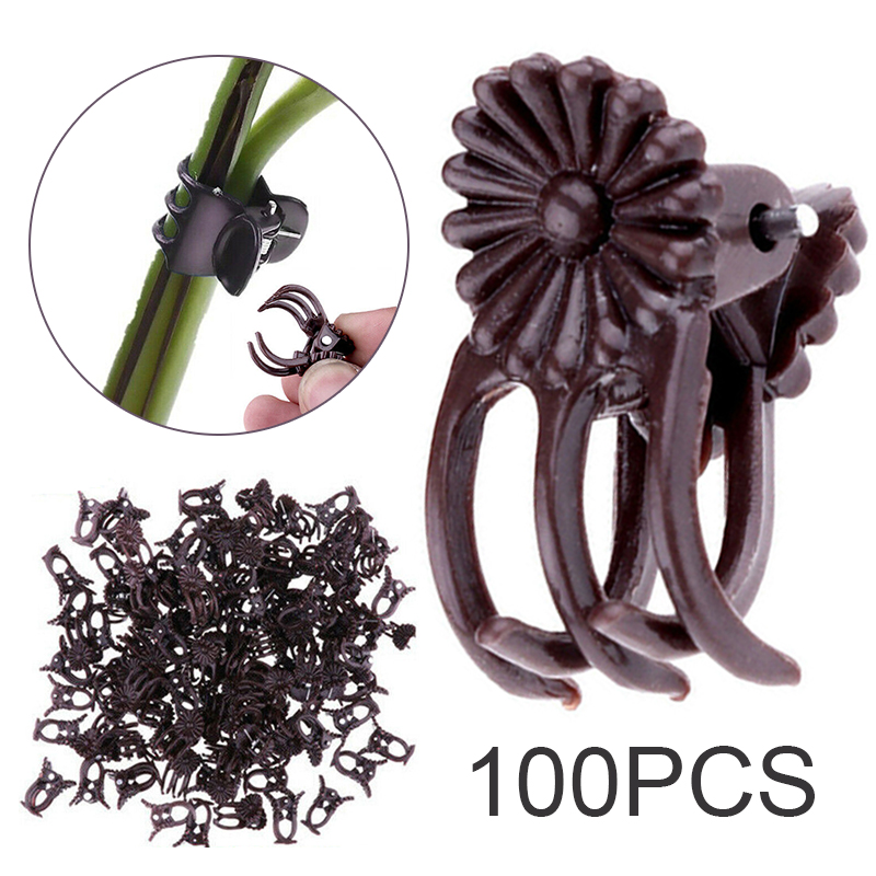100pcs Mini Plastic Grafting Clips Dark Purple Five Claw Plant Support Vine Grafting Clip Flower Orchid Stalks Fixed Clamp Tool