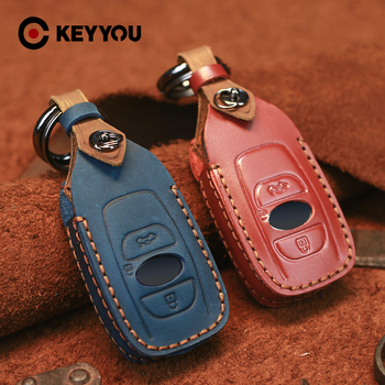 KEYYOU Protector Keychain Keyless For Subaru Forester Impreza Outback WRX BRZ XV Crosstrek Genuine Leather Car Key Case Cover image