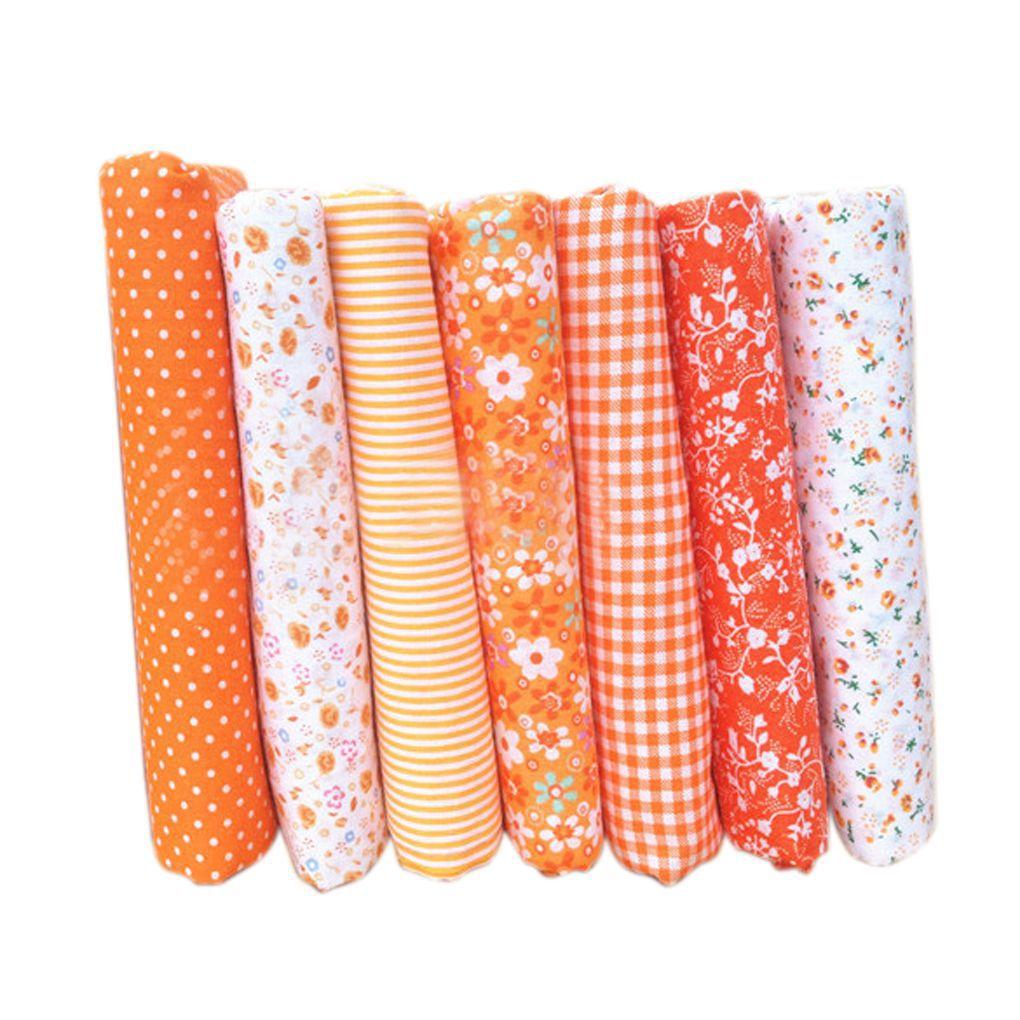 7pcs Cotton Square Floral Cotton Fabric Crafts Cloth Textile Craft Fabric Bundle Patchwork Floral Pattern 25x25cm