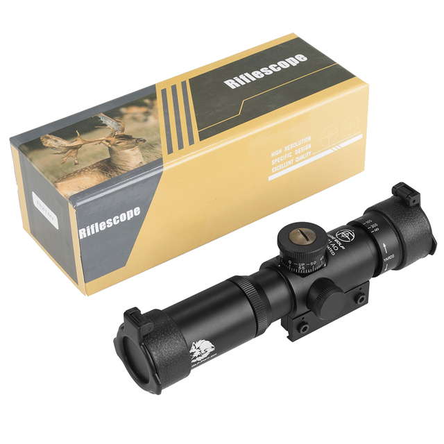 FIRE WOLF 4x21 Compact Hunting Air Rifle Scope Tactical Optical Sight Glass Etched Reticle Riflescopes With Flip open Lens Caps 4