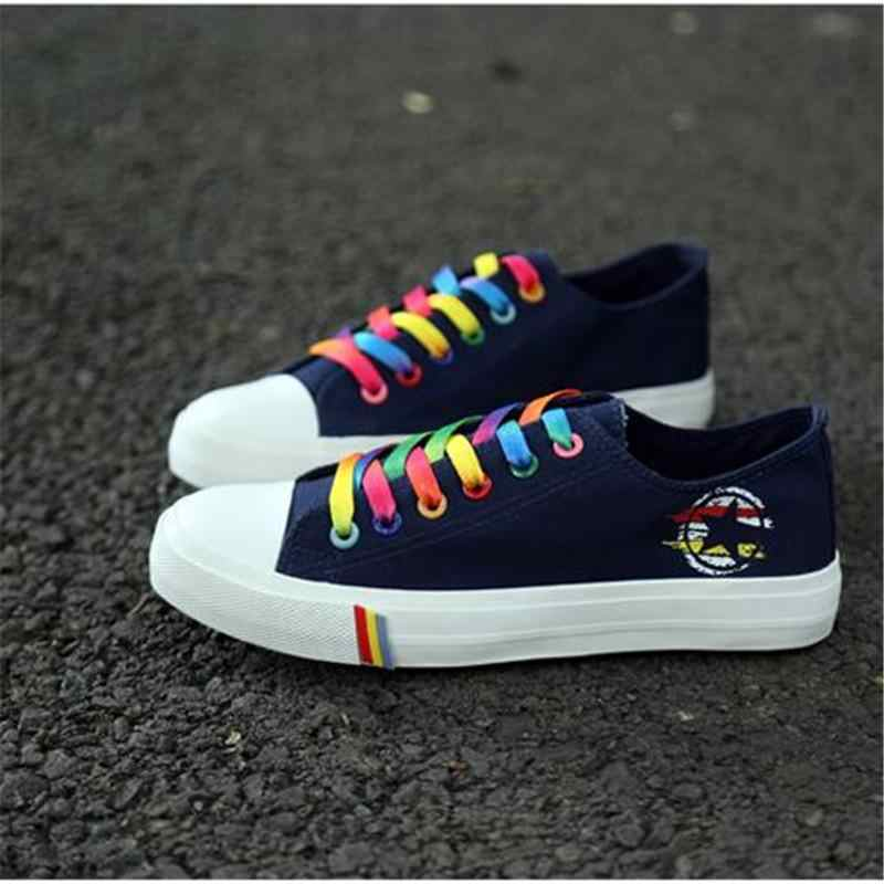 Rainbow Color Flat Sneaker Woman Canvas