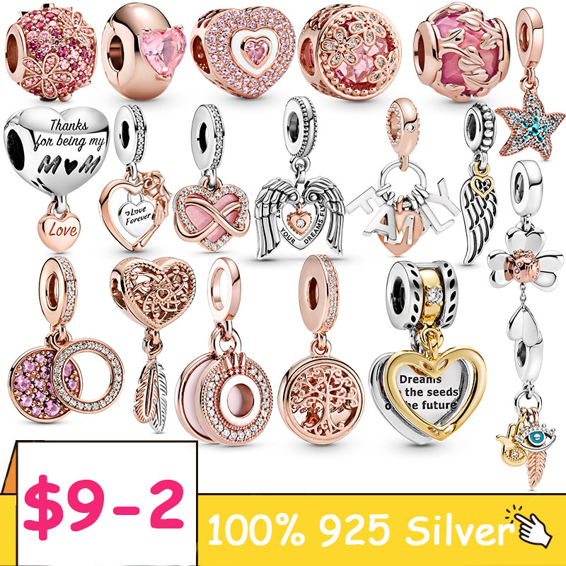 925 Sterling Silver Maple Leaf Charms Rose Flower Heart Shape Beads fit DIY Pandora bracelet charms silver 925 original Jewelry