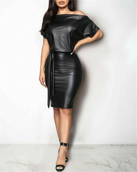 2020 New Women PU Leather Dress Sexy Black Crew Neck Wet Look Bodycon Bandage Party Club Mini Dress sexy black wet look deep v neck micro mini dress with gloves stripper disco rock mistress fetish costume