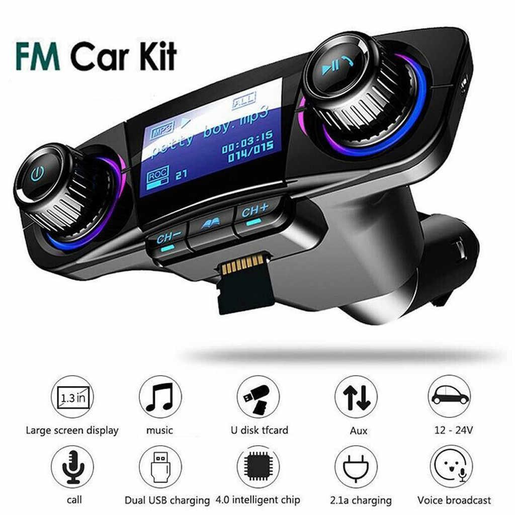 新 1.3 インチドットマトリックス led ディスプレイ Bt カー FM トランスミッタ MP3 プレーヤーハンズフリーラジオアダプタキット USB 充電器多言語 # P15