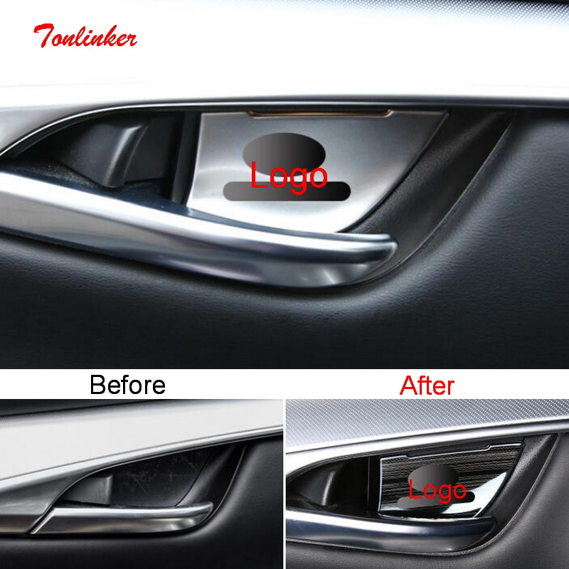 Tonlinker Interior Car Door Handle Bowl Cover Sticker For INFINITI QX50 2018-20 Car Styling 4 PCS Stainless Steel Cover Stickers