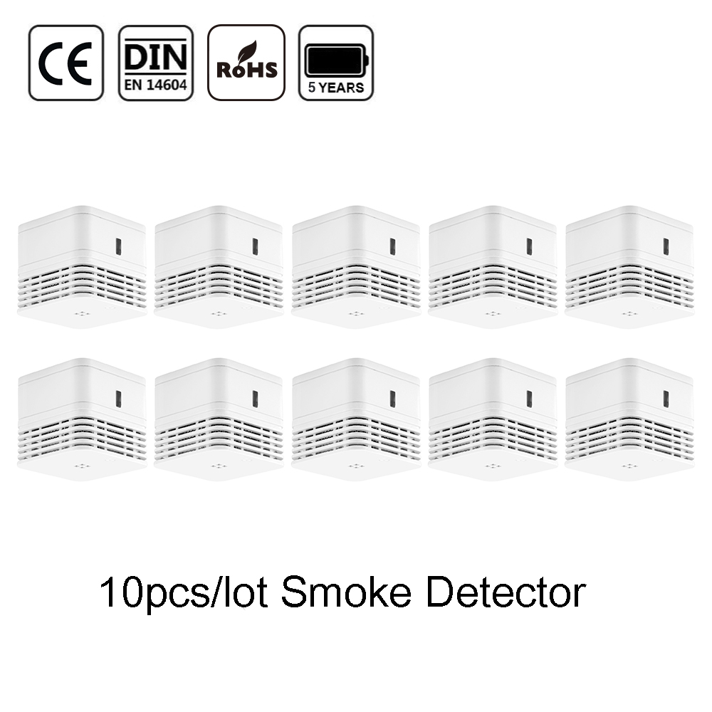 CPVan 10pcs/Lot Fire Detector EN14604 CE Certified 5 Years Battery Smoke Detector Home Sensor Detector 85dB Photoelectric Sensor