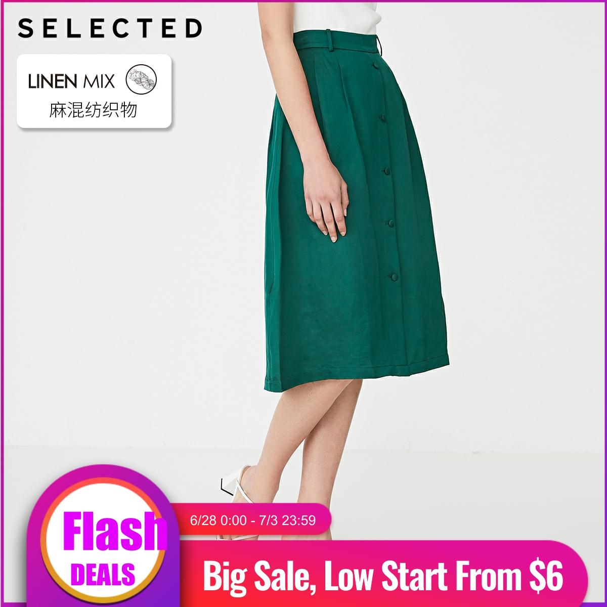 SELECTED Women's Linen Pure Color Mid-length A-lined Skirt S|41924C513