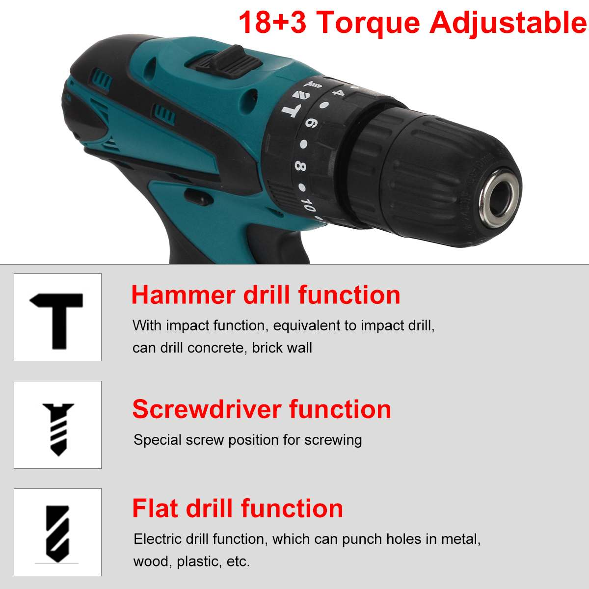 Tools : Electric Cordless Drill Screwdriver 10mm Wireless Power Driver 18 3 Torque 2-Speed Power Tool for 10 8V Makita  Battery
