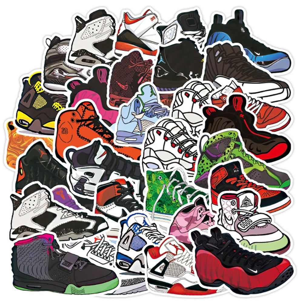 100PCS Fashion Basketball Sneaker Tide Shoes Stickers Phone Snowboard Laptop Luggage Fridge Guitar Graffiti Waterproof Stickers