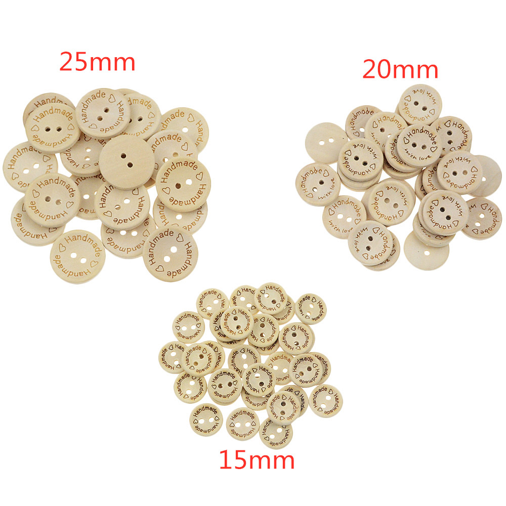 100PCS/Lot Bowl Type Natural Color Wooden Buttons Handmade Love Letter Wood Button Craft DIY Baby Apparel Accessories