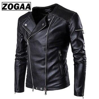 Zogaa 2020 кожаная куртка Mens PU Leather Jacket Men Fitness Fashion Male Moto & Bikerкожанная мужская
