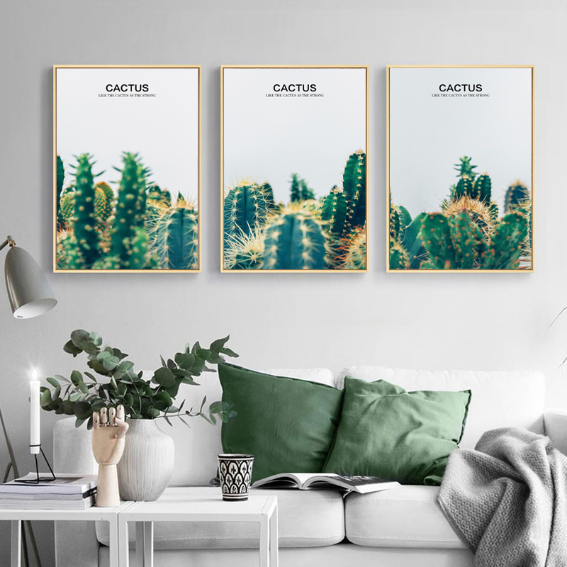 Yuke Art Green Plant Cactus Canvas Painting Vintage Poster and Print Nordic Wall Pictures for Living Room Decoracion