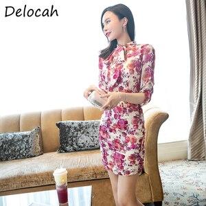 Женское платье-карандаш Delocah, облегающее платье с бантом и цветочным принтом, для вечеринок, 2020