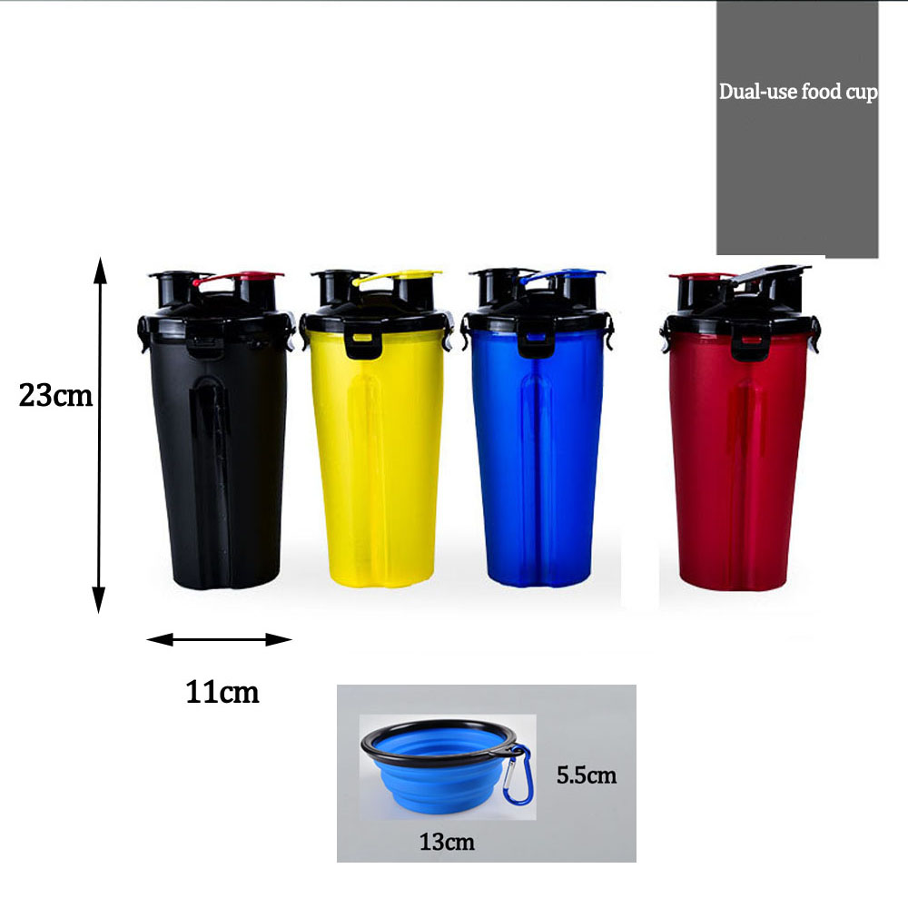 Portable 2 in 1 Pet Food Water Food Container with Folding Silicone Pet Bowls Outdoor Travel Dog Feeder Cup Pets Supplies