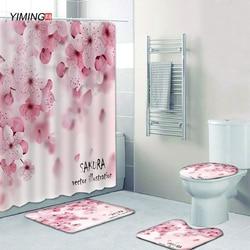 180x180 bathroom shower curtain set pink peach blossom shower curtain toilet seat cushion non-slip carpet foot mat bathroom set