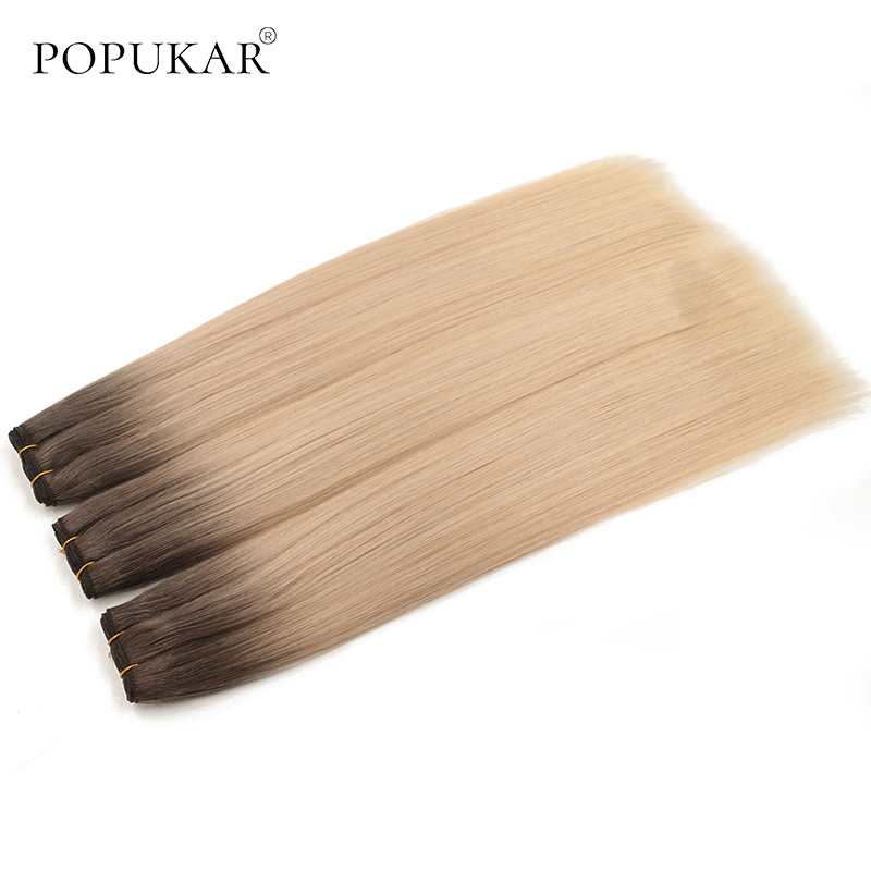Popukar #5T613 Sew In Weave Bundles Peruvian And Brazilian Human Hair Double Drawn Remy Hair Extensions