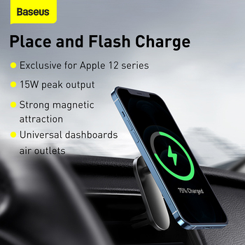 Baseus Magnetic Wireless Car Charger for iPhone 12 Series Phone Holder Quick Charger Air Vent Mount Stand Wireless Charging 2