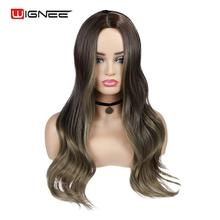Wignee Long Wavy Hair Synthetic Wig Black to Brown For Women High Density Temperature Middle Part  Daily Cosplay  Nutral Wigs long middle part wavy colormix synthetic wig