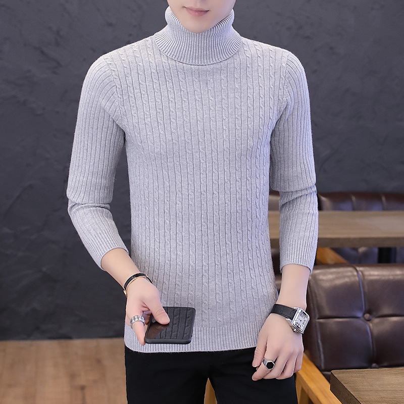 Sweater Men Yellow Black Red Blue Pullovers White And Blue Slim High-neck Thick Long-sleeved Winter Mens Sweaters