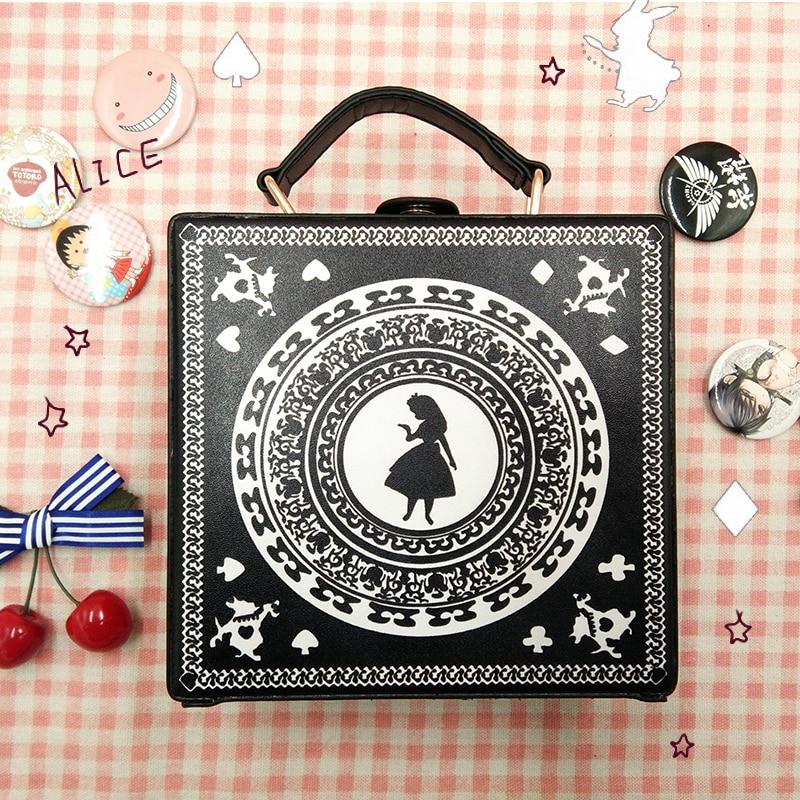 Alice in Wonderland Girl Lolita Gothic Handbag Small box Shoulder Bag Black Messenger Bag Vintage Korean Women's Crossbody Bags