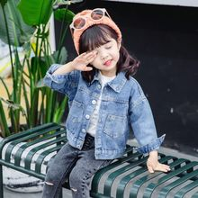 baby girls denim jacket 1-7 years old kids denim coat spring and autumn baby girl coat kids jacket Large pocket girls coat cheap vangull Fashion COTTON Polyester Solid Long Turn-down Collar Full Fits true to size take your normal size Thin (Summer)