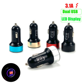 3.1A Dual USB Car Charger LED Display For Toyota SIENTA Vellfire Verso PROACE Hilux Tacoma Tundra 4Runner FT-EV FT-HT FT-AC AYGO image